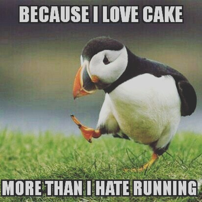 puffin running cake meme